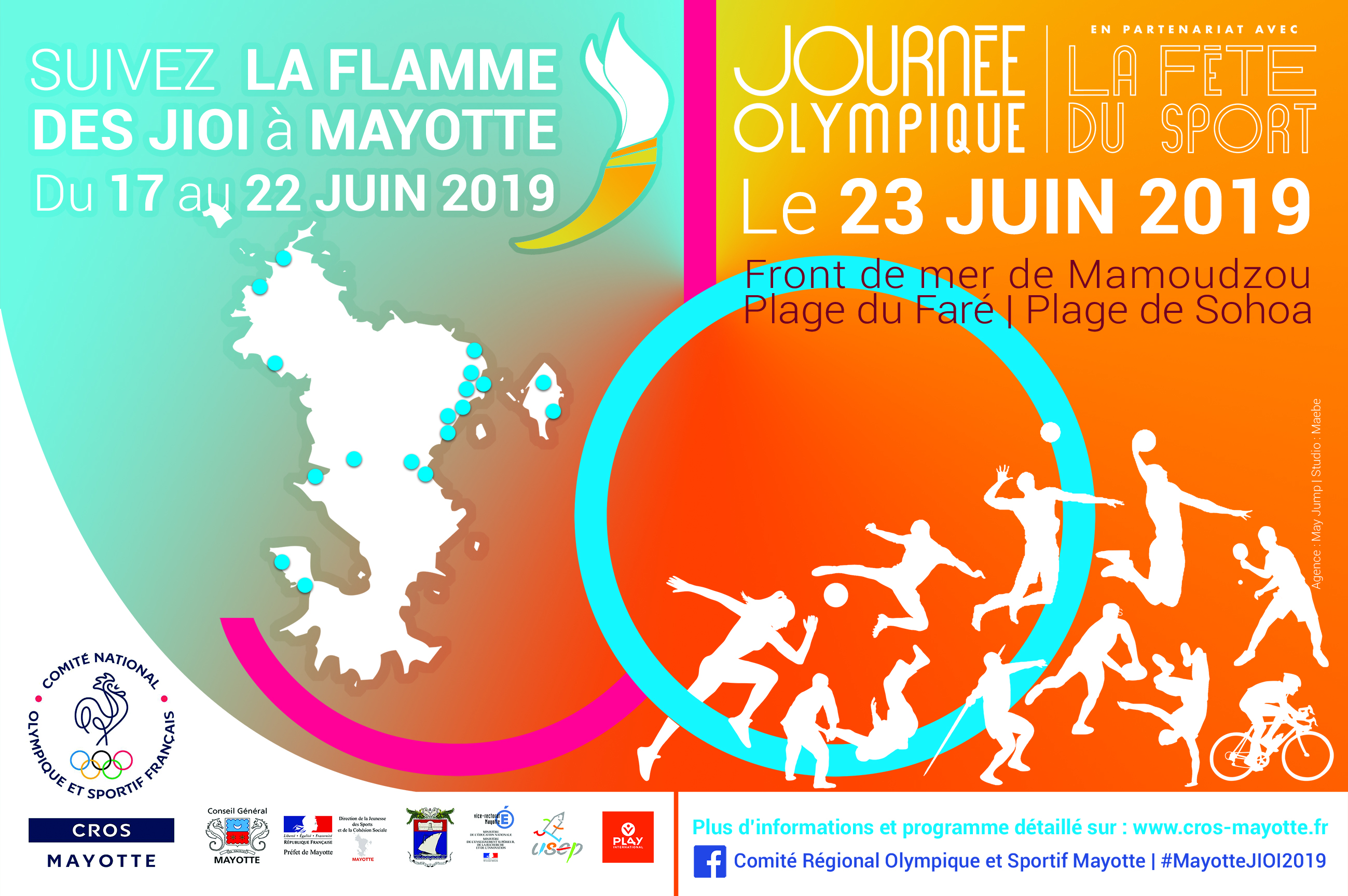 Flamme des JIOI 2019 / Journée olympique